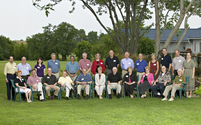 Group photo from 2004 retreat.  Standing, left to right: Ron Trewyn, Jon Josserand, Lisa Freeman, David Shulenburger, Prem Paul, Jim Bloedel, Meredith Hay, George Wilson, Bob Woody, Jim Roberts, Susan Sheridan, Robert Brown, Keith Yehle, Joy Simpson.  Seated, left to right: Barbara Atkinson, Steve Warren, Kim Wilcox, Jon Wefald, Harvey Perlman, Mary Sue Coleman, Robert Hemenway, Mabel Rice, Kathleen McCluskey-Fawcett, Robert Barnhill, Dick Schiefelbusch