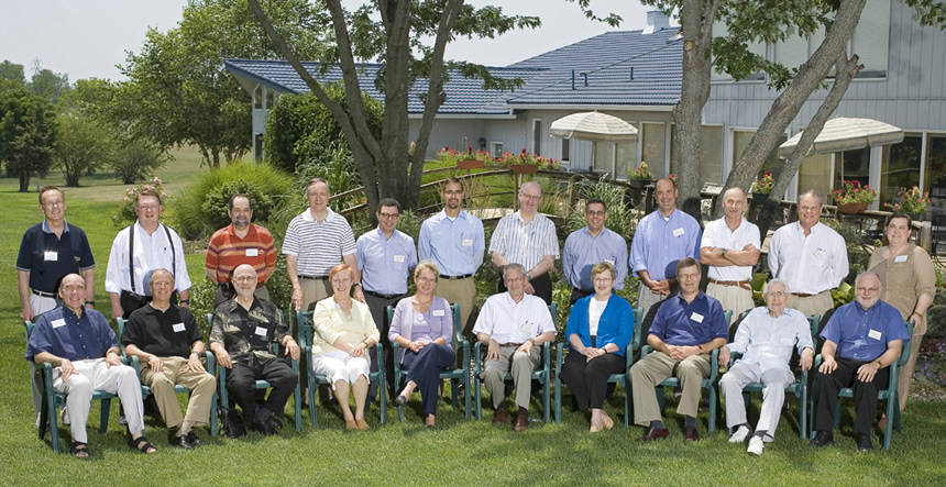 Group photo from 2006 retreat.  Standing, left to right: John Brighton, Donald Weeks, Ron Trewyn, Duane Nellis, Richard Barohn, Jeremy Anderson, Brian Foster, Jeff Aube, Keith Yehle, Chris Sorensen, Mike Nichols , Sally Hayden.  Seated, left to right: Richard Lariviere, Jim Roberts, Bob Barnhill, Barbara Atkinson, Kim Espy , John Wiley, Mabel Rice, Steve Warren, Dick Schiefelbusch, Joe Steinmetz