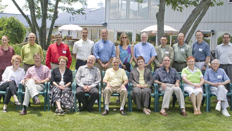 Group photo from 2007 retreat.  Standing, left to right: Evelyn Haaheim, Jim Roberts, Prem Paul, Jeremy Anderson, Keith Yehle, Loretta Johnson, Joe Steinmetz, Rick Barohn, Paul Terranova, John Brighton, Jordan Green.  Seated, left to right: Kathleen McCluskey-Fawcett, Steve Warren, Beth Montelone, Brian Foster, James Battey, Mabel Rice, Richard Lariviere, Barbara Atkinson, Dick Schiefelbusch