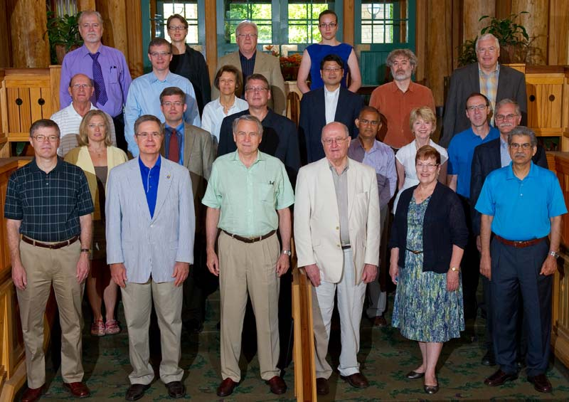 Group photo from 2012 retreat.  First row, left to right: Steve Warren, Jeff Vitter, Dave Shulenburger, Brian Foster, Mabel Rice, Prem Paul. Second row, left to right: Sue Brown, Russ Waitman, Gary Allen, Arun Somani, Mary Lee Hummert, Danny Anderson, Jim Davis. Third row, left to right: Paul Terranova, David Swanson, Deb Teeter, Chi-Ren Shyu, Perry Alexander, Rob Duncan. Fourth row, left to right: Jim Guikema, Evelyn Haaheim, John Colombo, Margaret Echelbarger