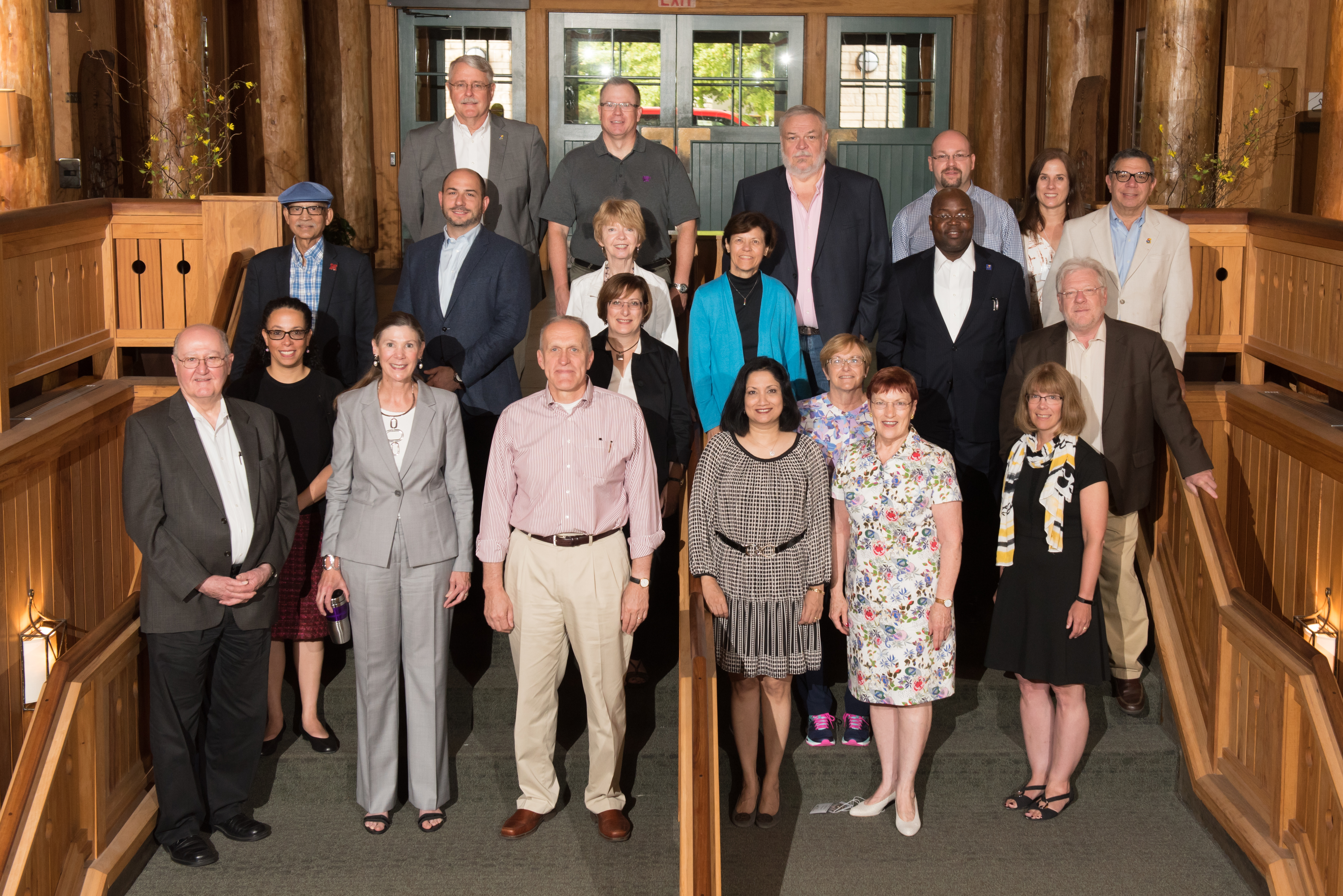 Group photo from 2016 retreat.  First row, left to right: Brian Foster, April Mason, Kim Wilcox, Neeli Bendapudi, Mabel Rice, Sarah Larsen Second row: Yo Jackson, Sara Rosen, Sally Maliski, John Colombo Third row: Prem Paul, Carl Lejuez, Mary Lee Hummert, Deb Teeter, Abiodun Akinwuntan Fourth row: Joe Heppert, Peter Dorhout, Alex Barker, Jerry Zamzow, Suzanne Scales, Rick Barohn