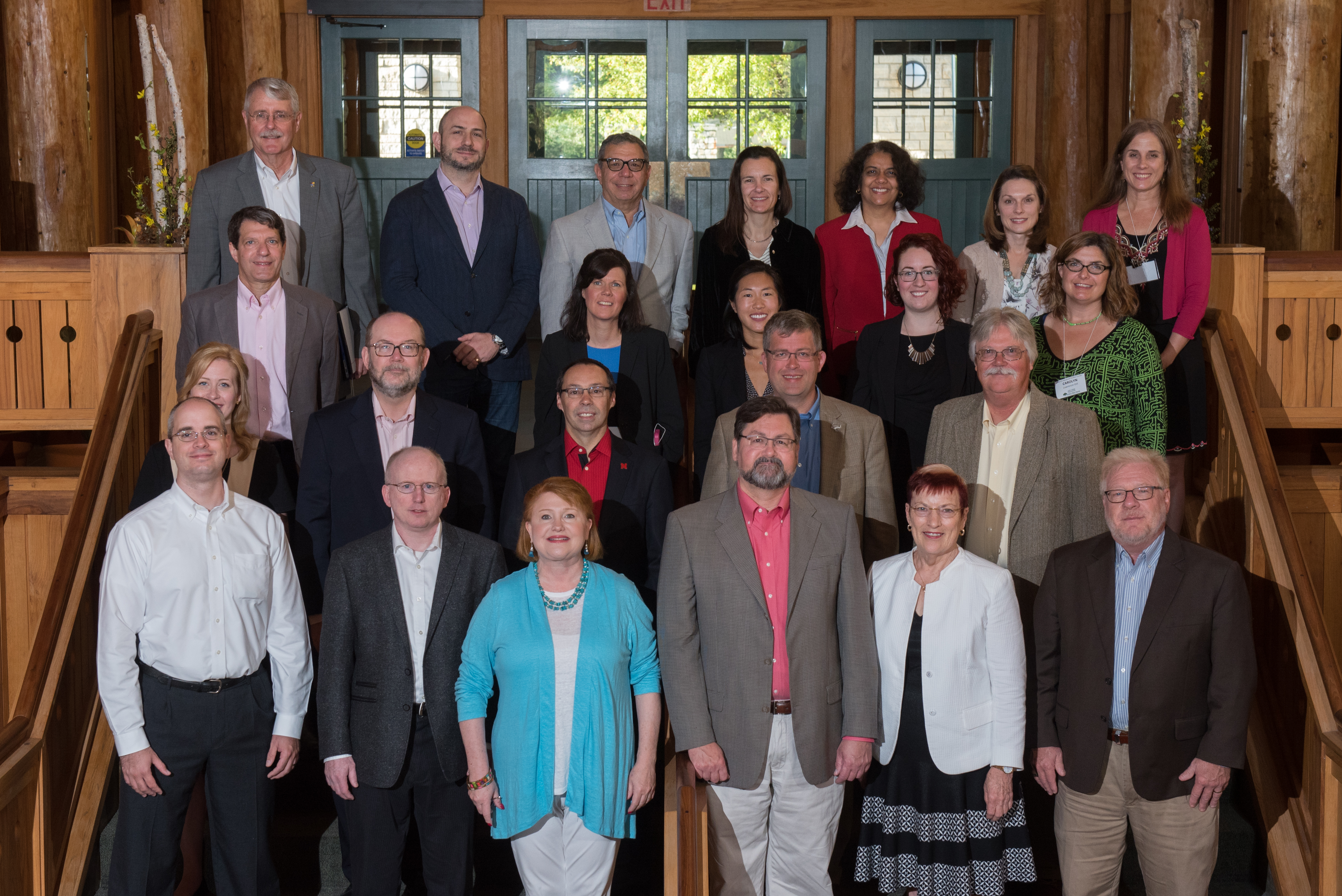 Group photo from 2017 retreat.  First row, left to right: Ian Czarnezki, Mike Cannon, Margaret Rogers, Michael Huerta, Mabel Rice, John Columbo. Second row, Amanda Kulp, Dan Reed, Steve Goddard, Russ Waitman, David Eichman. Third row, Josh Rosenbloom, Amy Sokol, Teresa Girolamo, Claire Selin, Carolyn Lawrence-Dill. Fourth row: Joe Heppert, Carl Lejuezz, Rick Barohn, Jennifer L. Clark, Surya Mallapragada, Kathleen Kelsey Erarnest, Suzanne Scales