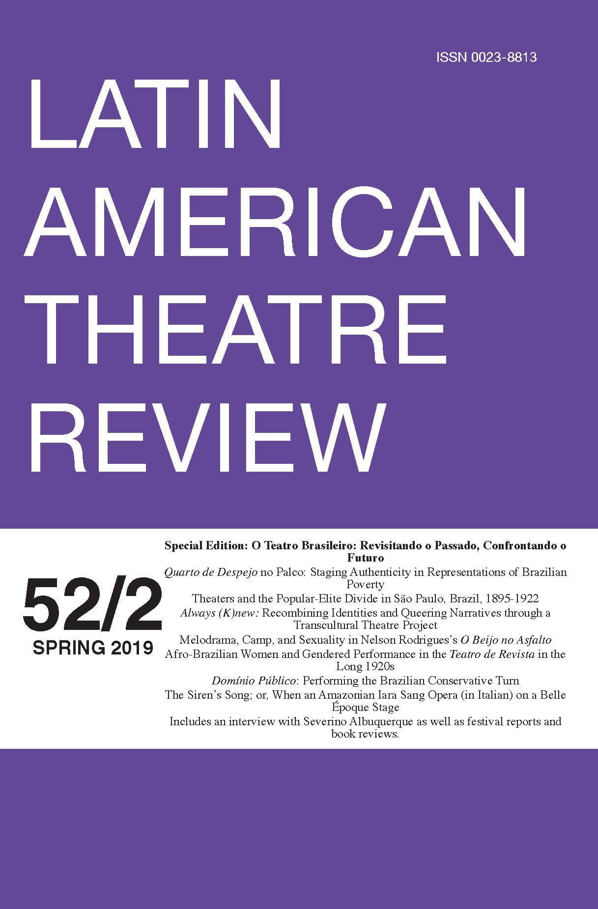 Latin American Theatre Review cover